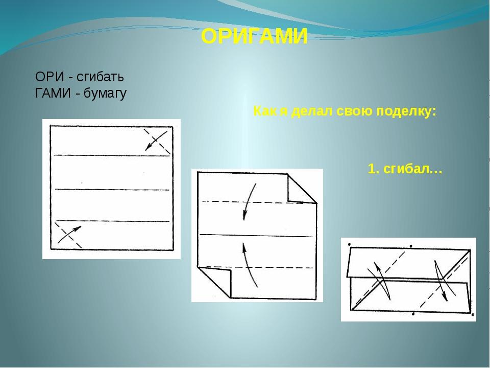 ОРИГАМИ ОРИ - сгибать ГАМИ - бумагу Как я делал свою поделку: 1. сгибал…