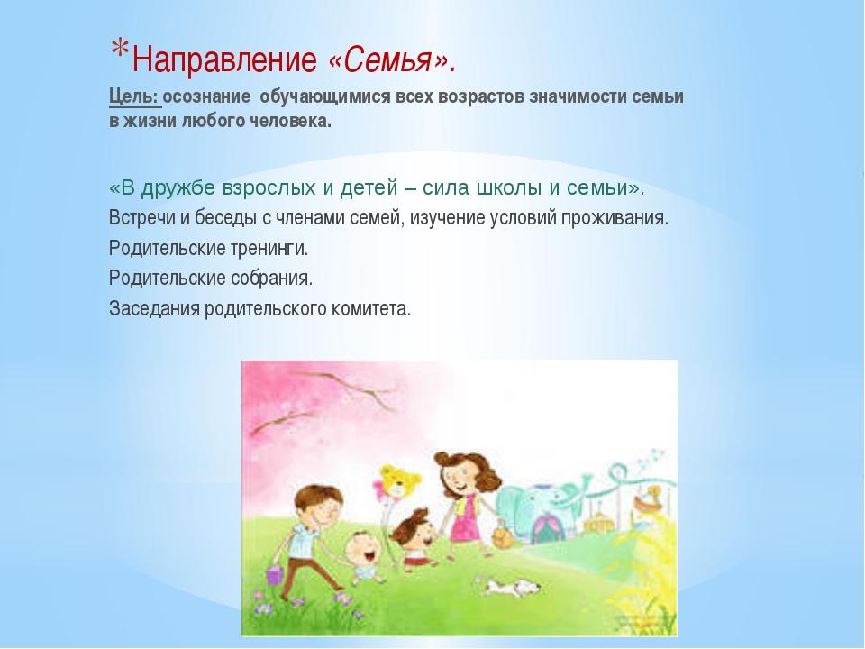 Направление «Семья». Цель: осознание обучающимися всех возрастов значимости с...