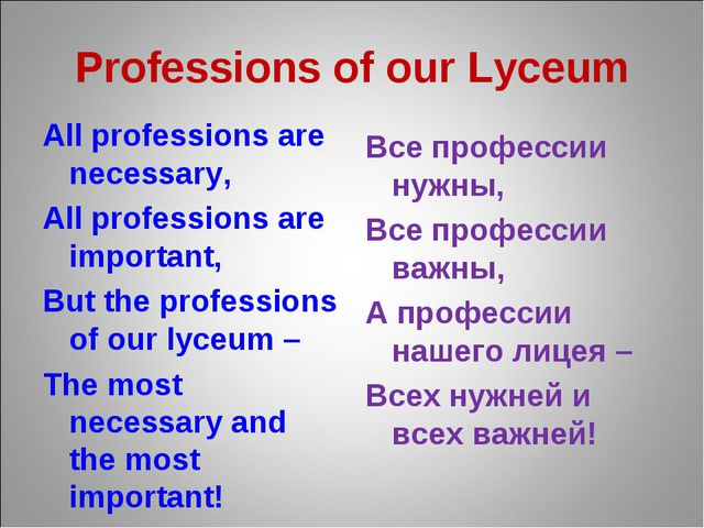 Professions of our Lyceum All professions are necessary, All professions are...