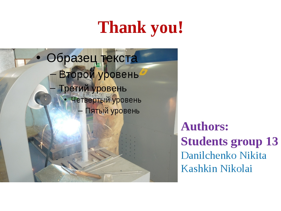 Thank you! Authors: Students group 13 Danilchenko Nikita Kashkin Nikolai