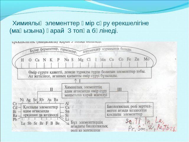 Химиялық элементтер өмір сүру ерекшелігіне (маңызына) қарай 3 топқа бөлінеді.