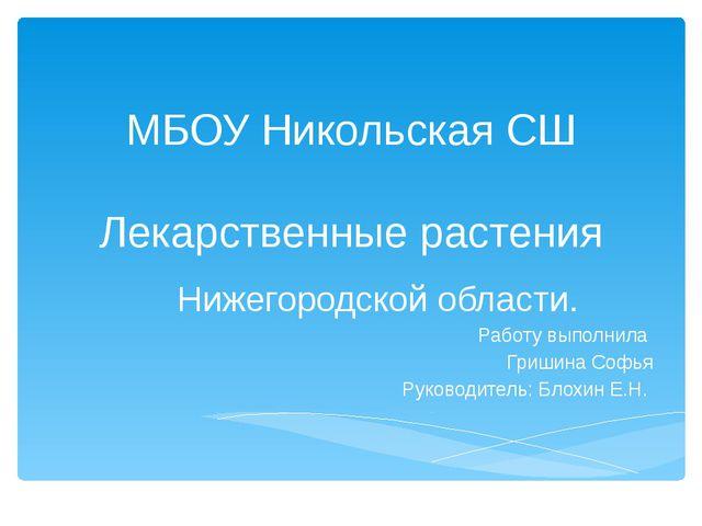 МБОУ Никольская СШ Лекарственные растения Нижегородской области. Работу выпол...