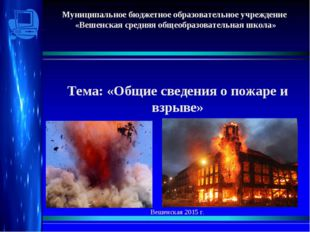 Тема: «Общие сведения о пожаре и взрыве» Вешенская 2015 г. Санкт-Петербург 2