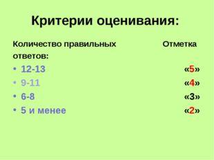 Критерии оценивания: Количество правильных Отметка ответов: 12-13«5