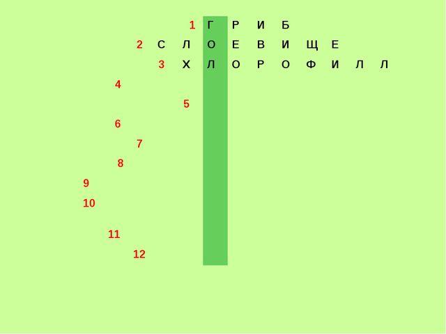 1ГРИБ 2СЛОЕВИЩЕ 3ХЛОРОФИЛЛ 4 5 6...