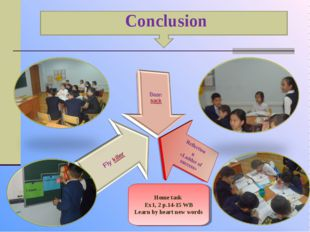 Conclusion Home task Ex1, 2 p.14-15 WB Learn by heart new words