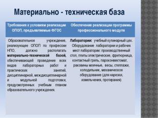Материально - техническая база Требования к условиям реализации ОПОП, предъяв