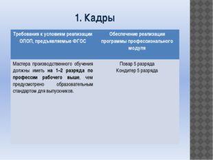 1. Кадры Требования к условиям реализации ОПОП, предъявляемые ФГОС Обеспечени