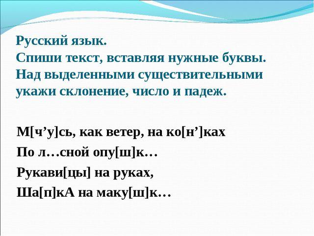 Русский язык. Спиши текст, вставляя нужные буквы. Над выделенными существител...