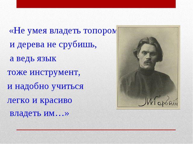«Не умея владеть топором, и дерева не срубишь, а ведь язык тоже инструмент,...