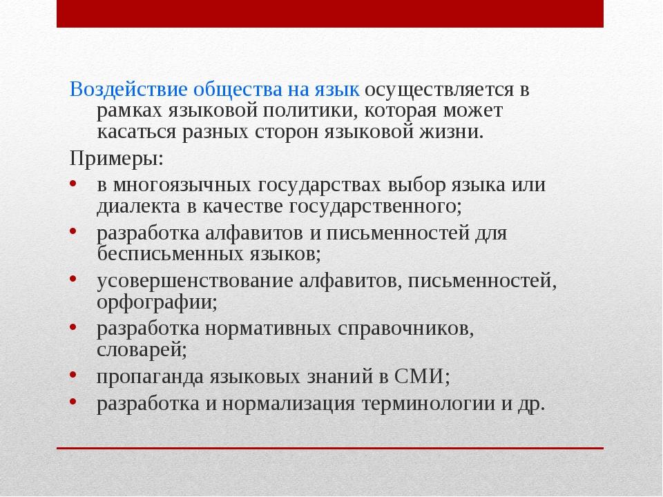 Воздействие общества на язык осуществляется в рамках языковой политики, котор...
