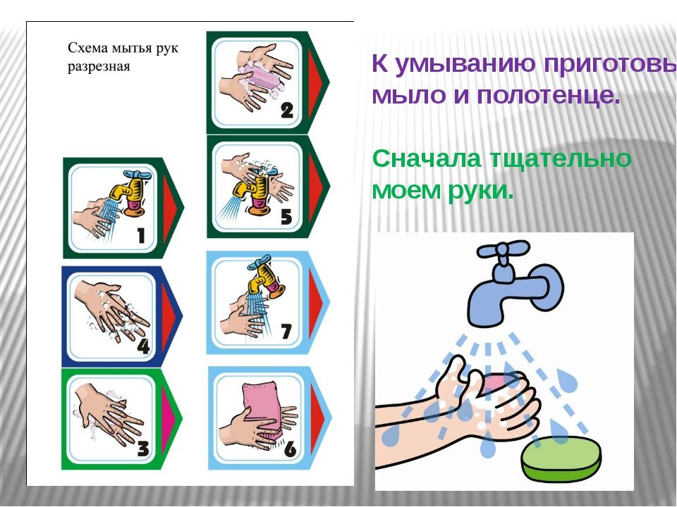 К умыванию приготовьте мыло и полотенце. Сначала тщательно моем руки.