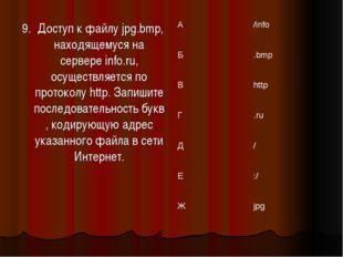 9. Доступ к файлу jpg.bmp, находящемуся на сервере info.ru, осуществляется по