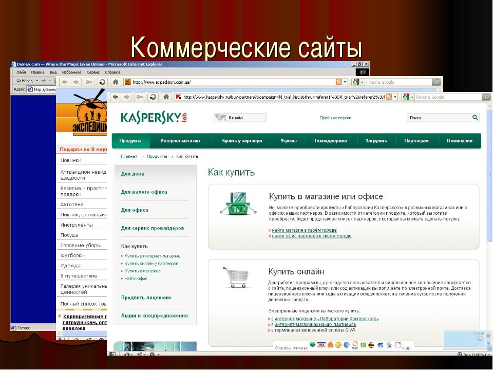 Коммерческие сайты