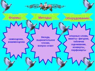 Формы: Методы: Оборудование: самооценка, взаимооценка беседа, выразительное ч
