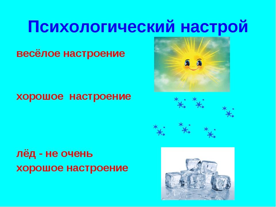 Психологический настрой весёлое настроение хорошое настроение лёд - не очень...