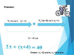 Решение: V1=х км/ч t1= 2ч V2=(x+4) км/ч t2=1ч S = 40 км Ответ: v1=12 км/ч; v2