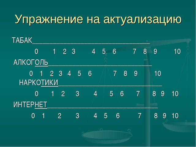 Упражнение на актуализацию ТАБАК__________________________________  0 1 2 3...