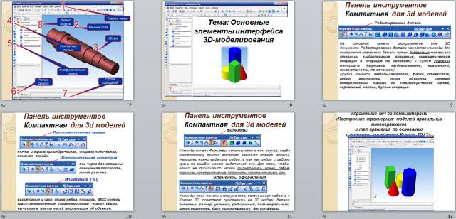 Основные элементы интерфейса 3D моделирования