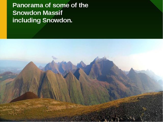 Panorama of some of the Snowdon Massif including Snowdon.