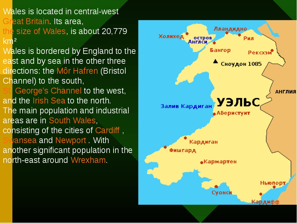 Wales is located in central-west Great Britain. Its area, the size of Wales,...