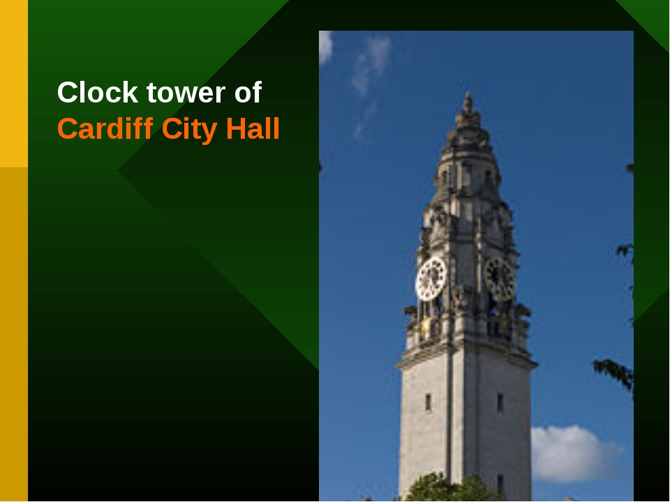 Clock tower of Cardiff City Hall