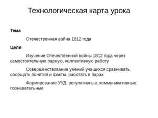 Технологическая карта урока Тема Отечественная война 1812 года Цели Изуче