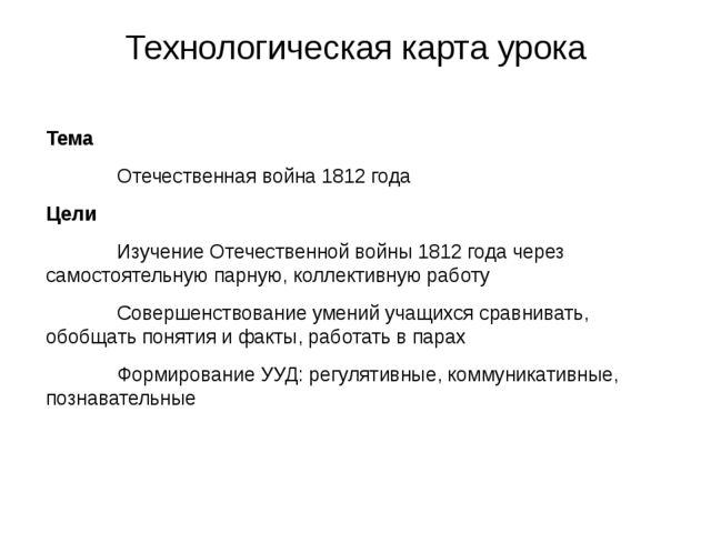 Технологическая карта урока Тема Отечественная война 1812 года Цели Изуче...