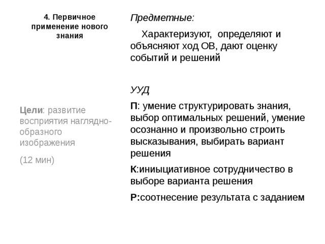 4. Первичное применение нового знания Предметные: Характеризуют, определяют...