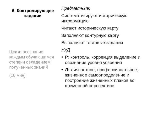6. Контролирующее задание Предметные: Систематизируют историческую информацию...