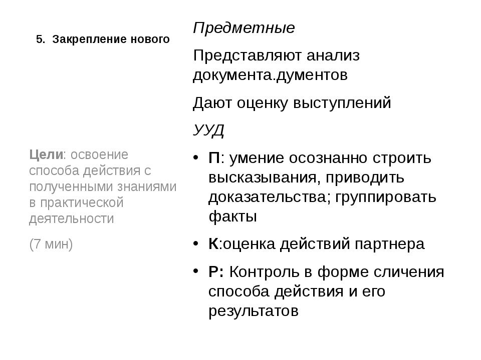 5. Закрепление нового  Предметные Представляют анализ документа.дументов Даю...