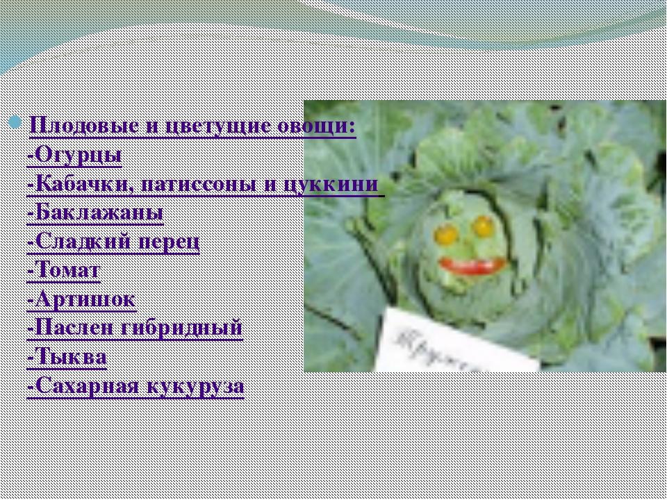 Плодовые и цветущие овощи: -Огурцы -Кабачки, патиссоны и цуккини -Баклажаны...