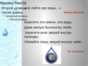 «Не лейте зря воды…» Марина Цветаетва Берегите эти земли, эти воды, Даже ма