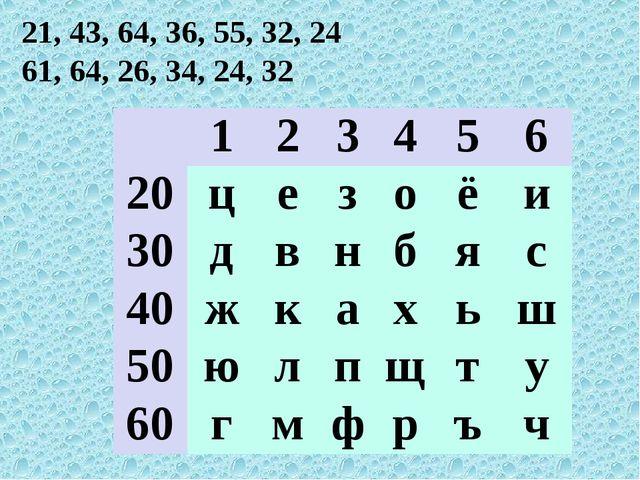 21, 43, 64, 36, 55, 32, 24 61, 64, 26, 34, 24, 32 123456 20цезоё...