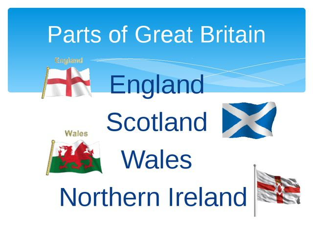 England Scotland Wales Northern Ireland Parts of Great Britain
