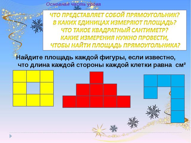 Найдите площадь каждой фигуры, если известно, что длина каждой стороны каждой...