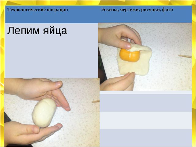 Технологические операции Эскизы, чертежи, рисунки, фото Лепим яйца...