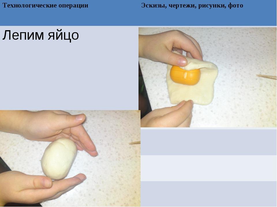 Технологические операции Эскизы, чертежи, рисунки, фото Лепим яйцо...