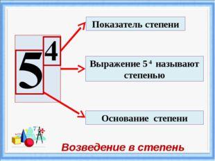 Показатель степени Основание степени Выражение 5 4 называют степенью Возведен