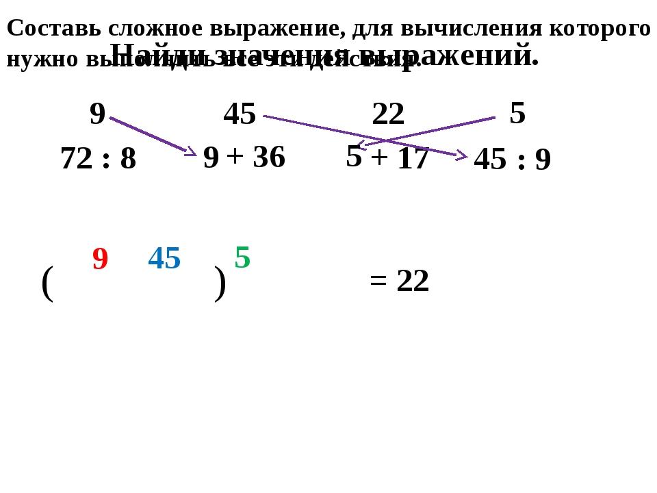 Найди значения выражений. 72 : 8 + 36 + 17 : 9 9 45 22 5 9 45 5 ( 9 ) 45 5 =...