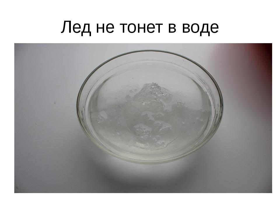 Лед не тонет в воде