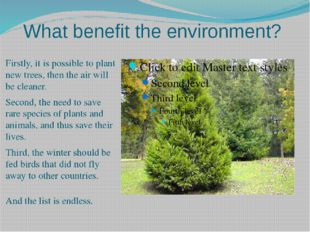 What benefit the environment? Firstly, it is possible to plant new trees, the