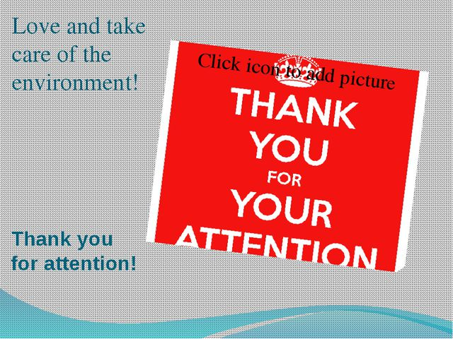 Thank you for attention! Love and take care of the environment!