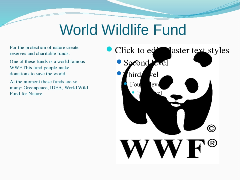 World Wildlife Fund For the protection of nature create reserves and charitab...