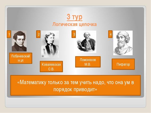 3 тур Логическая цепочка Лобачевский Н.И 1 2 3 4 Ковалевская С.В. Ломоносов М...