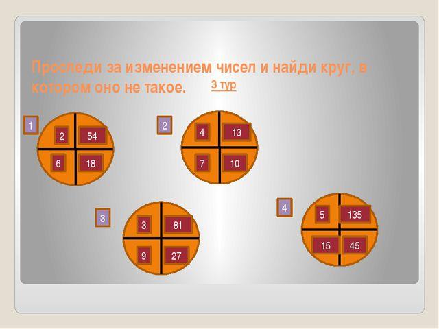 3 тур Проследи за изменением чисел и найди круг, в котором оно не такое. 1 2...