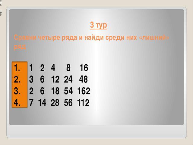 3 тур Сравни четыре ряда и найди среди них «лишний» ряд 1 2 4 8 16 3 6 12 24...