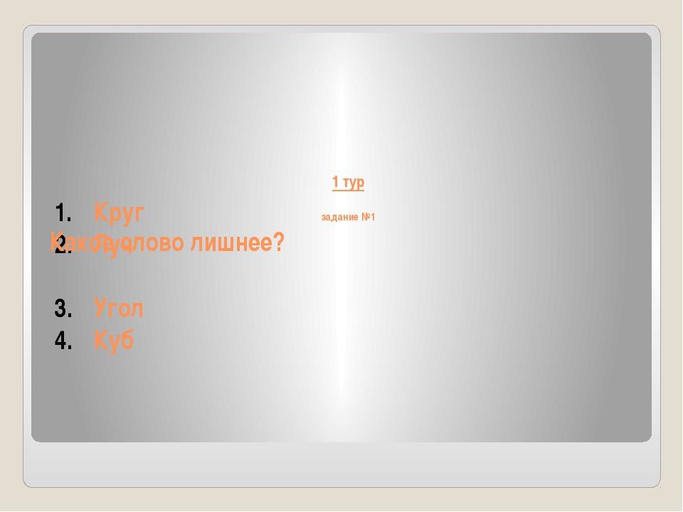 1 тур задание №1 Круг Луч Угол Куб Какое слово лишнее?