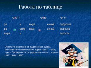 Работа по таблице Обратите внимание на выделенные буквы, расскажите о правопи