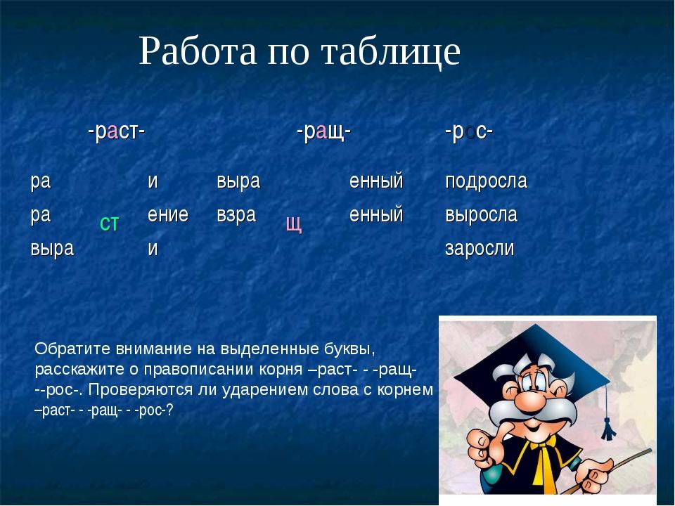 Работа по таблице Обратите внимание на выделенные буквы, расскажите о правопи...